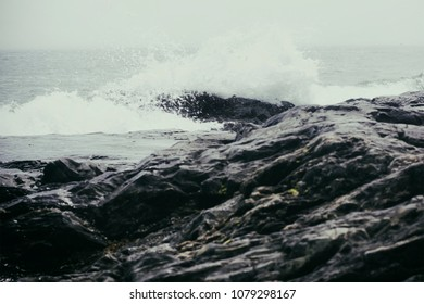 Dramatic waves on a rocky coastline