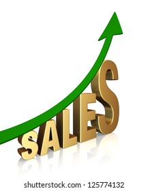"""A dramatically upward trending green arrow above the word, """"SALES"""". On white with shadow."""
