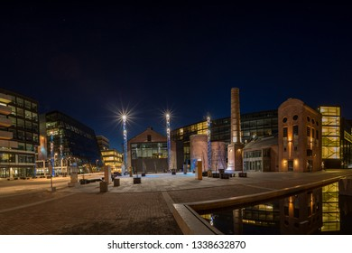 Drammen, Buskerud county, Norway - March 31 2016: Papirbredden/Grønland - Modern and new part of Drammen. The area contains old and new buildings, restaurants, library, shops, offices and apartments.
