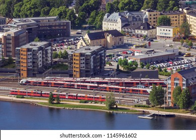 DRAMMEN, BUSKERUD, NORWAY, June 04, 2018 - View over Drammen with its railway station