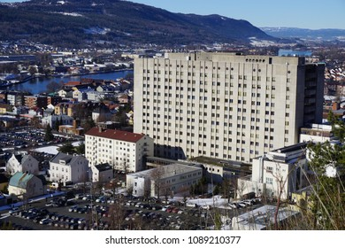 Drammen, Buskerud / Norway - March 10, 2017: Drammen sykehus (hospital) seen from the side