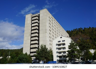 DRAMMEN, BUSKERUD / NORWAY - SEPTEMBER 27, 2016: Drammen sykehus (hospital) as seen from the front