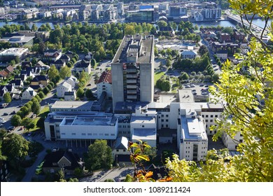DRAMMEN, BUSKERUD / NORWAY: Drammen sykehus (hospital) as seen from the hillside behind