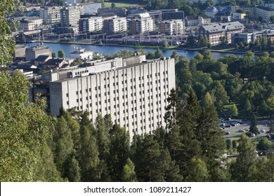 DRAMMEN, BUSKERUD / NORWAY: Drammen sykehus (hospital) as seen from the hillside behind