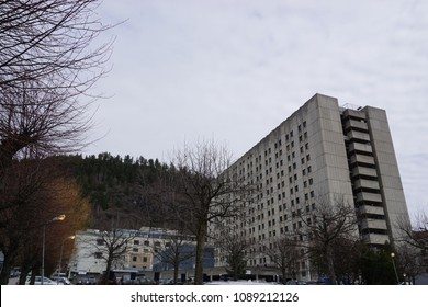 DRAMMEN, BUSKERUD / NORWAY: Drammen sykehus (hospital) as seen from the front