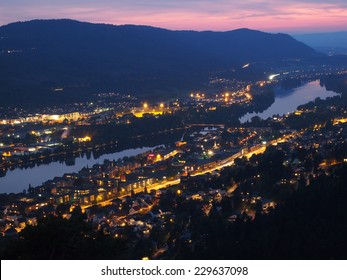 Drammen city night view in Norway, Landscape photo from the view point..