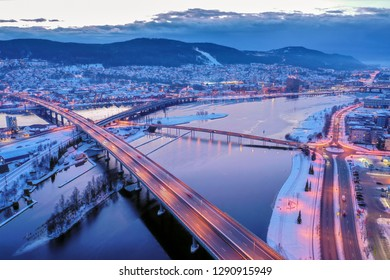 Drammen city, Norway. This image show a part of Drammen city. The river is called Drammenselva.