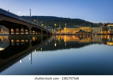 Drammen / Norway - April 28 2019: The city of drammen and Bybrua at sunset