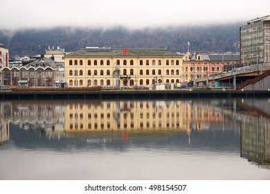 DRAMMEN, NORWAY - APRIL 5, 2016 - the railway station in Drammen, Norway on a foggy day.