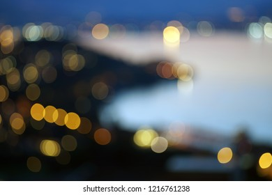 Drammen in Norway evening blurred picture. City and fjord.