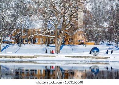 Drammen, Norway - February 3, 2019: This image show a popular hiking area in Drammen city. The river is called Drammenselva.