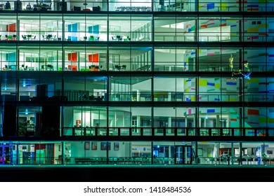 Drammen, Norway - January 27, 2014: The modern library in Drammen city. The entire facade is covered with glass. This library was built in 2006.