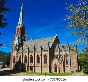 DRAMMEN, NORWAY - JULY 21, 2012. Bragernes church in Drammen.