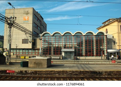 Drammen, Norway - June 10, 2018: Building of railway station in Drammen, the capital of the county of Buskerud.