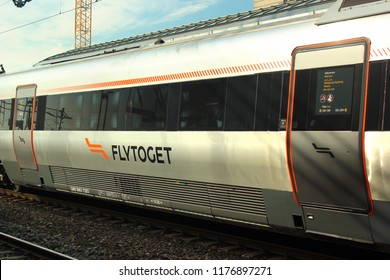 Drammen, Norway - June 10, 2018: Flytoget, the high-speed Airport Express Train connecting Oslo Airport to Oslo Central Station in 19 minutes.