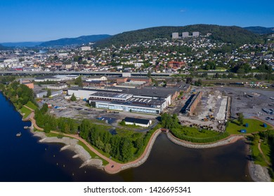 Drammen, Norway - June 15. 2019: Aerial view of a part of Drammen city, Norway. This is the area were the new hospital in Drammen (Vestre Viken) are going to be built soon.