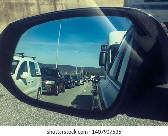 Drammen, Norway - May 16. 2019: Traffic chaos in Drammen. Cars are in line due to a traffic accident.