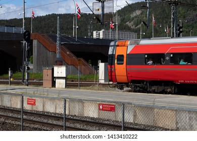 Drammen, Norway - May 26th 2019: Train leaving the station