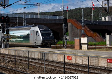 Drammen, Norway - May 26th 2019: Train arriving at the train-station