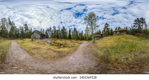 Drammen, Norway - May 7. 2016: 360 degree image of old wooden buildings in  a forest called Drammensmarka. The building belongs to the museum (Friluftsmuseum) in Drammen.