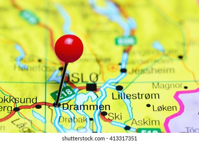 Drammen pinned on a map of Norway
