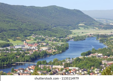 Drammen and its valley in close up taken from Spiraltoppen