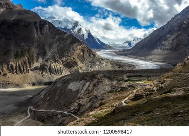 Drang Drung Glacier near Pensi La mountain pass (National Highway 301) and under shades of two mountain peaks of Nun and Kun, Kargil district, Ladakh region, India.