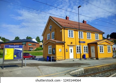 Drangedal, Norway - June 10, 2018: Drangedal railway station located in Prestestranda in Drangedal, on Sorlandet Line. The station serves express trains to Kristiansand and Oslo.