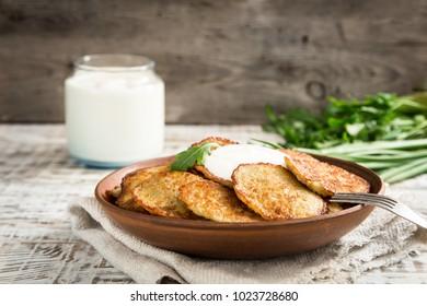 Draniki - potato fritters. potato pancakes. The naitonal dish of Belarus, Ukraine and Russia
