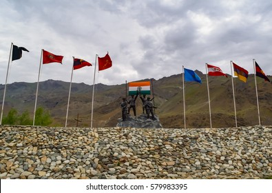 DRAS WAR MEMORIAL, KARGIL,KASHMIR ,INDIA - JULY, 2015 : Operation Vijay memorial built to pay tribute to Indian soldier who sacrificed their life during 1999 Kargil war  between Pakistan and India.