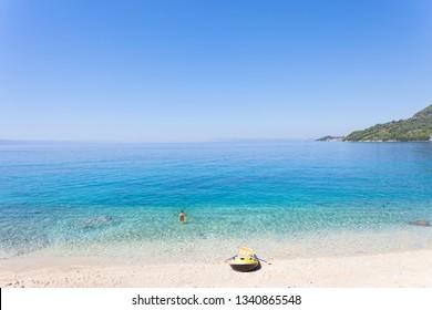 Drasnice, Dalmatia, Croatia, Europe - Rowing boat at the beautiful beach of Drasnice