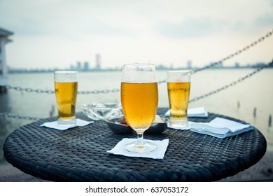 Draught beer by the lake