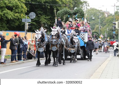 Draught horses from local Munich breweries taking part in the annual Traditional costume parade on the first weekend of Oktoberfest in Munich, Bavaria on the 20th Sept 2015