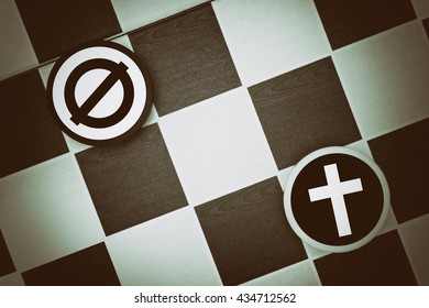 Draughts (Checkers) - christianity vs atheism (empty set) - conflict between believers - christians - and secular nonbelievers (evolutionary theory, abortion, premarital sex, contraception)