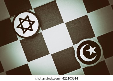 Draughts (Checkers) - Jadaism vs Islam - religious tension and conflict between two monotheistic religions and believers, jews and muslims (dramatic light: underexposure, vignetting)