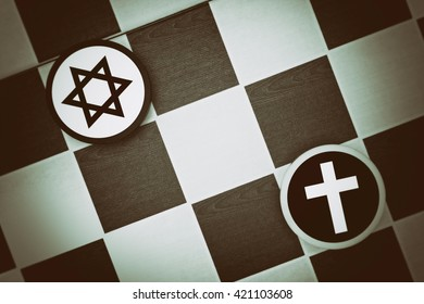 Draughts (Checkers) - Judaism vs Christianity - religious tension and conflict between two monotheistic religions and believers, jews and christians (dramatic light: underexposure, vignetting)