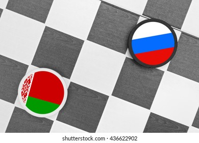 Draughts (Checkers) - Russia vs Belarus - russian sphere of influence - west / east heading of belarusian country and partnership, diplomacy, confrontation and  hybrid war