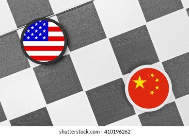 Draughts (Checkers) - United States vs China. Competition of two countries on supremacy and leadership. Two biggest economies and military power in the world.