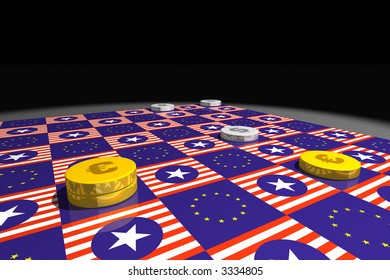 a draughts game with euro and dollar chips, board with european and american flags