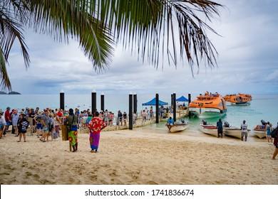 Dravuni Island, Kadavu Group, Fiji - 11.02.2020:  passengers in line for transportation to the ship