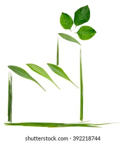 draw concept green factory with leaf  isolated on white