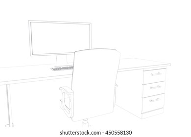 Draw of a desk with a computer and a chair