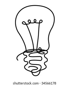 draw illustration of light bulb from solid line