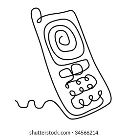 draw illustration of mobile phone from solid line