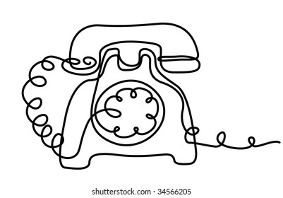 draw illustration of phone from solid line