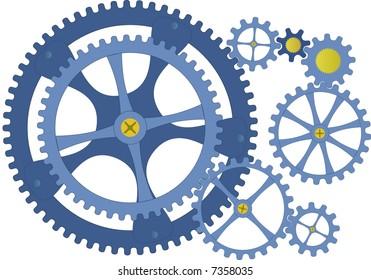 Draw nest of gears - mechanical gearbox