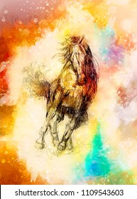 Draw pencil horse and softly blurred watercolor background.