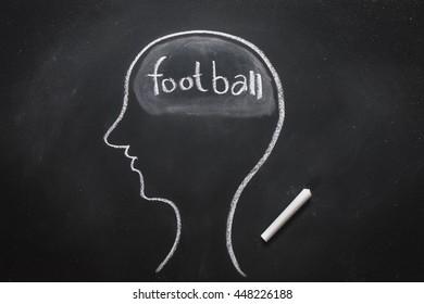 Draw the shape of a human head on the blackboard ( football in the brain )