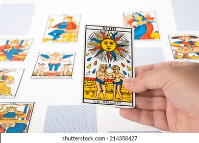 Draw tarot on white background : The Sun