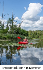 Drawa National Park - Canoeing on the Drawa River - Family on a kayak - Poland